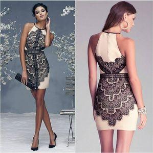 Bebe Angled Lace Trim Halter Dress